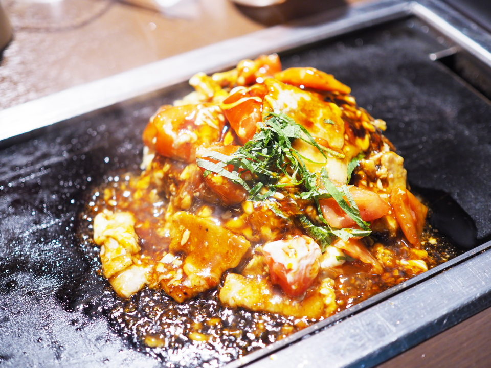 トマトのお好み焼き・豚肉&チーズ@京ちゃばな・梅田OS店