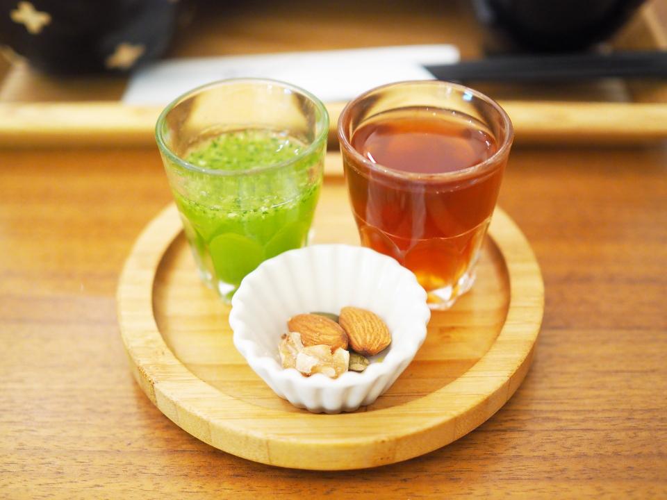 生姜湯、飲む野菜サラダ、ナッツ類@玄三庵・淀屋橋odona店