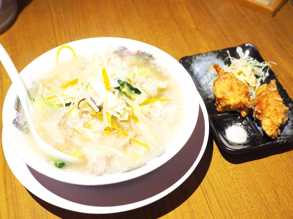 野菜タンメン、唐揚げ(2ケ)@肉太郎・梅田第3ビル店