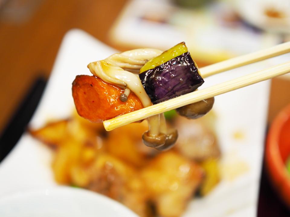 鶏と野菜の黒酢あんセット@家族亭・京橋店