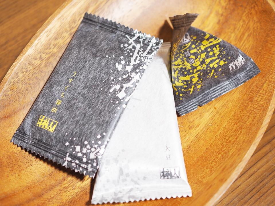 柿山セレクト(うすくち醤油、大豆、醤油)@赤坂柿山