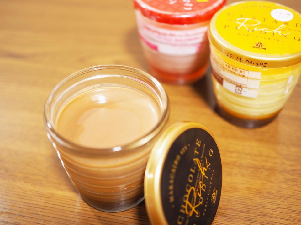 チョコレートリッチプリン、カスタードリッチプリン、福岡あまおういちごのプリン@モロゾフ