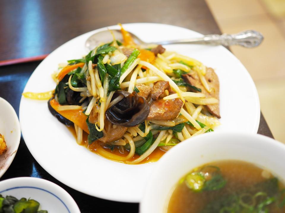 サービス定食(ニラレバー定食)@香港風中華料理・好再来