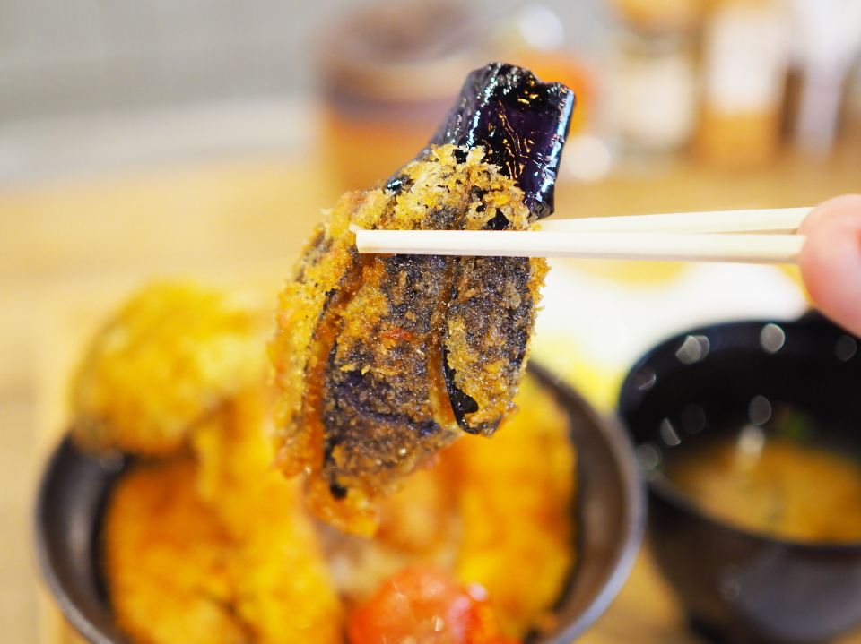 野菜カツ丼の茄子@新潟カツ丼・タレカツ