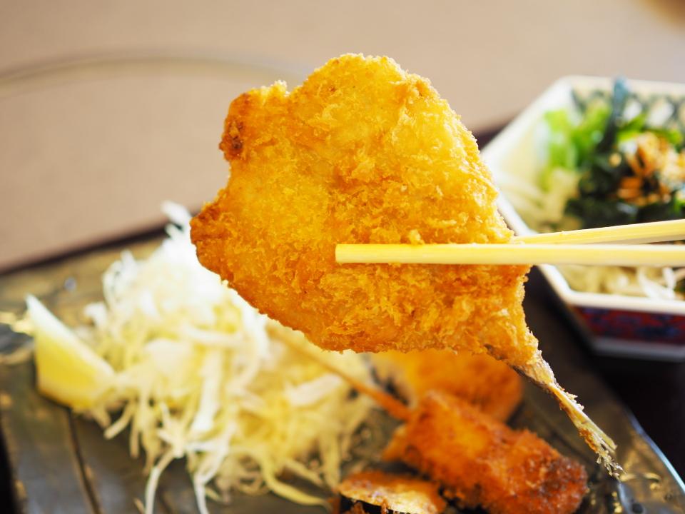 かごの屋・深江橋店の昼膳・アジフライ
