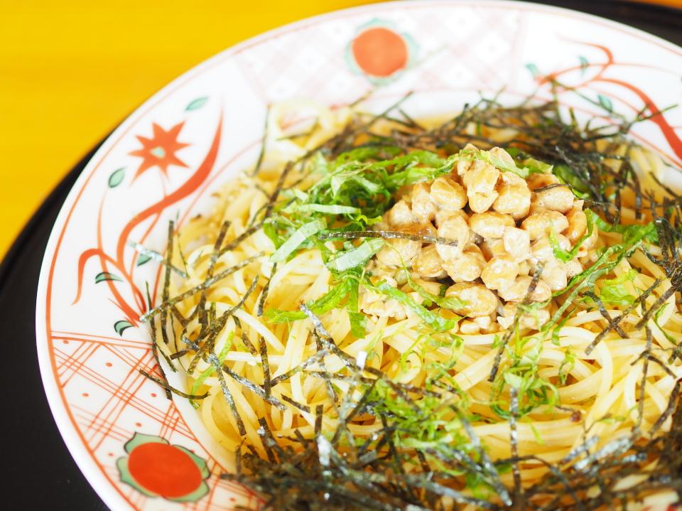 五右衛門・東大阪店の納豆スパゲッティー