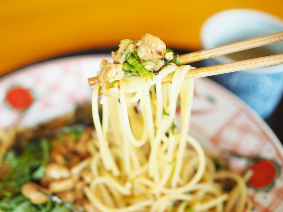 五右衛門の納豆スパゲッティーは川口納豆を使用