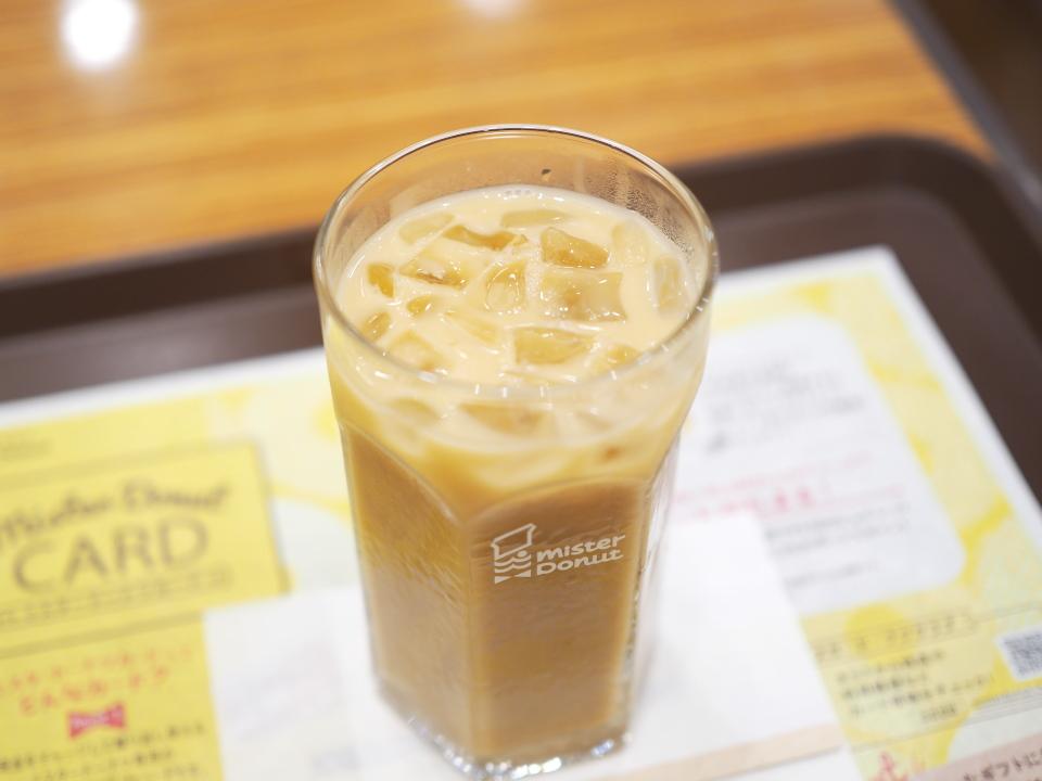 ミスタードーナツのカフェインレスアイスカフェオレ